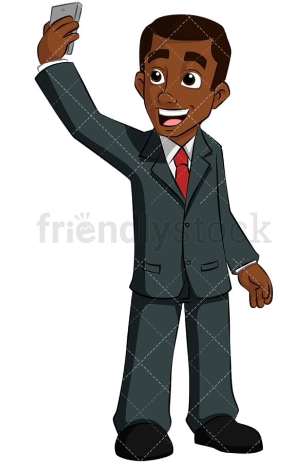 Black business man taking selfie. PNG - JPG and vector EPS (infinitely scalable). Image isolated on transparent background.