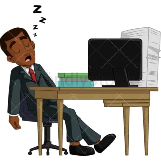 Black businessman napping at work. PNG - JPG and vector EPS (infinitely scalable). Image isolated on transparent background.