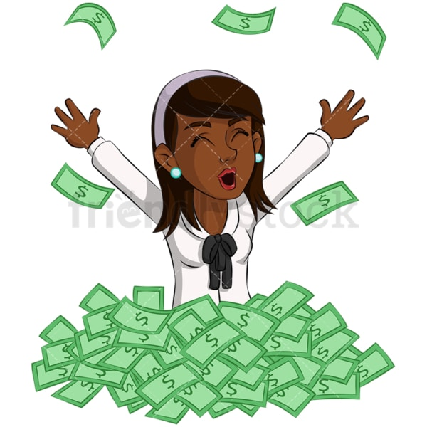 Black businesswoman in pile of money. PNG - JPG and vector EPS (infinitely scalable). Image isolated on transparent background.