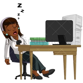 Black businesswoman sleeping in office. PNG - JPG and vector EPS (infinitely scalable). Image isolated on transparent background.