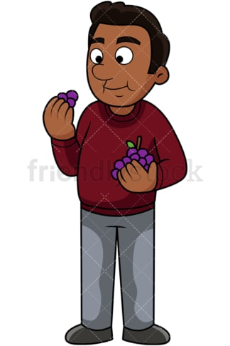 Black man enjoying grapes. PNG - JPG and vector EPS. Image isolated on transparent background.