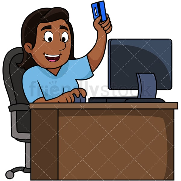 Black woman shopping online. PNG - JPG and vector EPS file formats (infinitely scalable). Image isolated on transparent background.