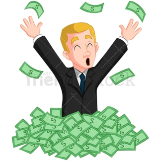 Businessman in pile of cash. PNG - JPG and vector EPS (infinitely scalable). Image isolated on transparent background.