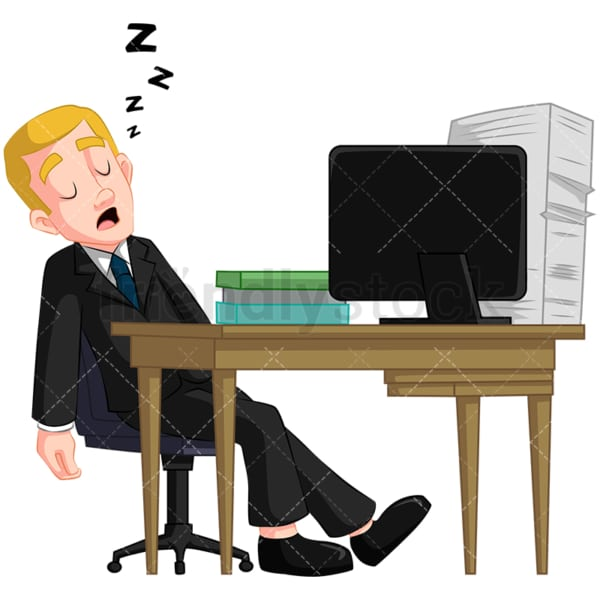 Businessman sleeping at work. PNG - JPG and vector EPS (infinitely scalable). Image isolated on transparent background.