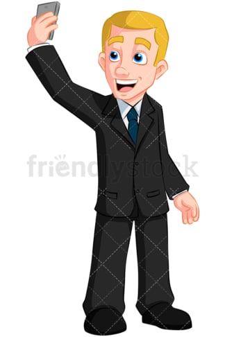 Businessman taking selfie. PNG - JPG and vector EPS (infinitely scalable). Image isolated on transparent background.