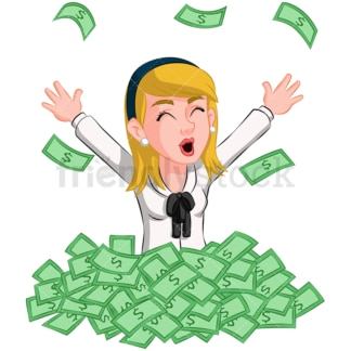 Businesswoman in pile of cash. PNG - JPG and vector EPS (infinitely scalable). Image isolated on transparent background.