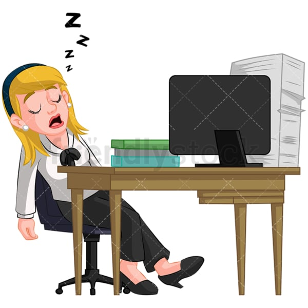 Businesswoman sleeping at her desk. PNG - JPG and vector EPS (infinitely scalable). Image isolated on transparent background.