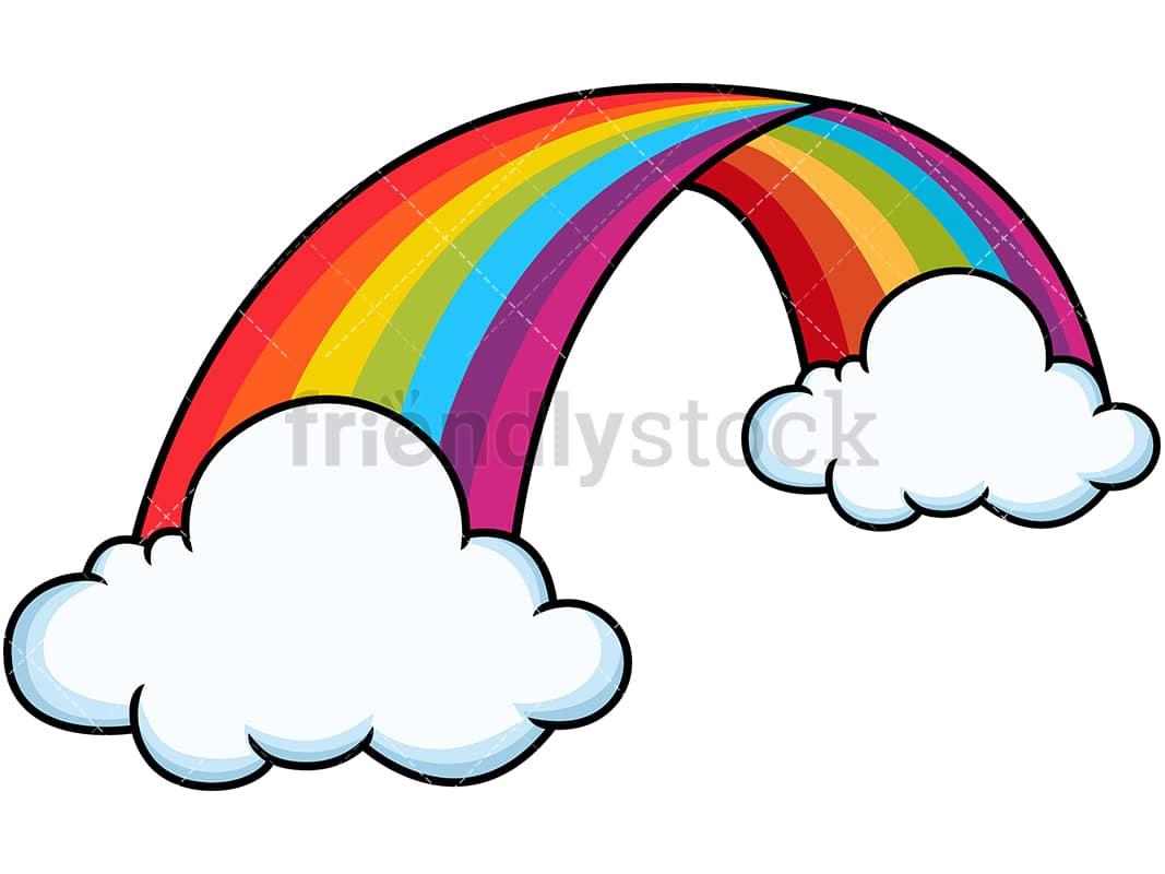 Curved Rainbow Between Clouds Cartoon Vector Clipart ...