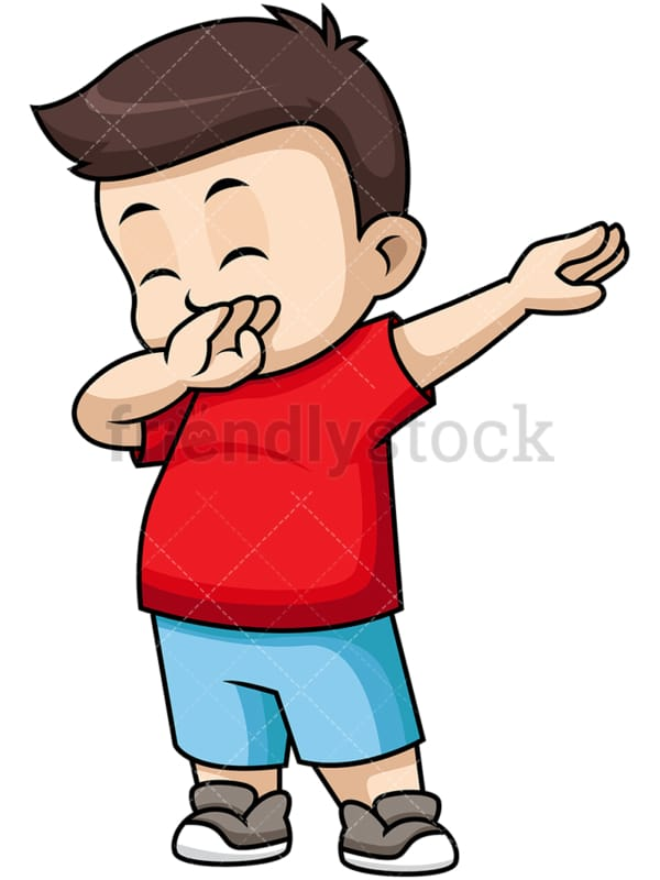 Dabbing little boy. PNG - JPG and vector EPS file formats (infinitely scalable). Image isolated on transparent background.