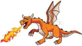 Dragon breathing fire. PNG - JPG and vector EPS file formats (infinitely scalable). Image isolated on transparent background.