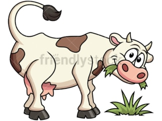 Farm cow eating grass. PNG - JPG and vector EPS file formats (infinitely scalable). Image isolated on transparent background.
