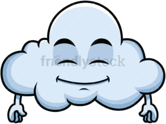 Happy looking cloud emoticon. PNG - JPG and vector EPS file formats (infinitely scalable). Image isolated on transparent background.