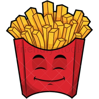 Happy looking french fries emoticon. PNG - JPG and vector EPS file formats (infinitely scalable). Image isolated on transparent background.