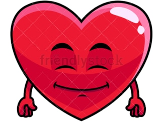 Happy looking heart emoticon. PNG - JPG and vector EPS file formats (infinitely scalable). Image isolated on transparent background.