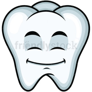 Happy looking tooth emoticon. PNG - JPG and vector EPS file formats (infinitely scalable). Image isolated on transparent background.