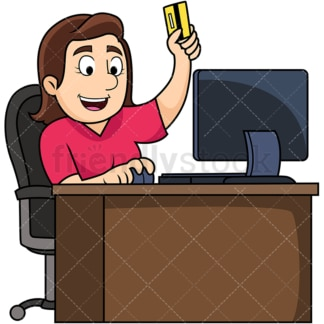 Happy woman shopping online. PNG - JPG and vector EPS file formats (infinitely scalable). Image isolated on transparent background.