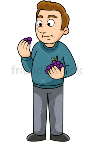 Man enjoying grapes. PNG - JPG and vector EPS. Image isolated on transparent background.