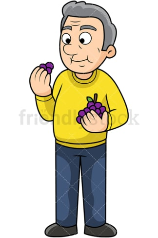 Old man enjoying grapes. PNG - JPG and vector EPS. Image isolated on transparent background.