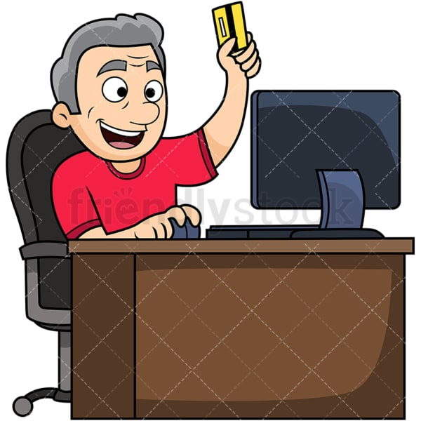 Old man shopping online. PNG - JPG and vector EPS file formats (infinitely scalable). Image isolated on transparent background.