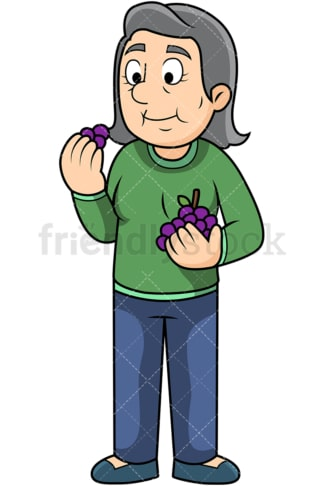 Old woman enjoying grapes. PNG - JPG and vector EPS. Image isolated on transparent background.