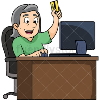 Old woman shopping online. PNG - JPG and vector EPS file formats (infinitely scalable). Image isolated on transparent background.