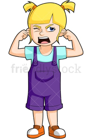 Screaming little girl. PNG - JPG and vector EPS (infinitely scalable). Image isolated on transparent background.