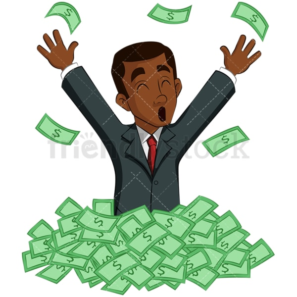 Successful black businessman in cash pile. PNG - JPG and vector EPS (infinitely scalable). Image isolated on transparent background.