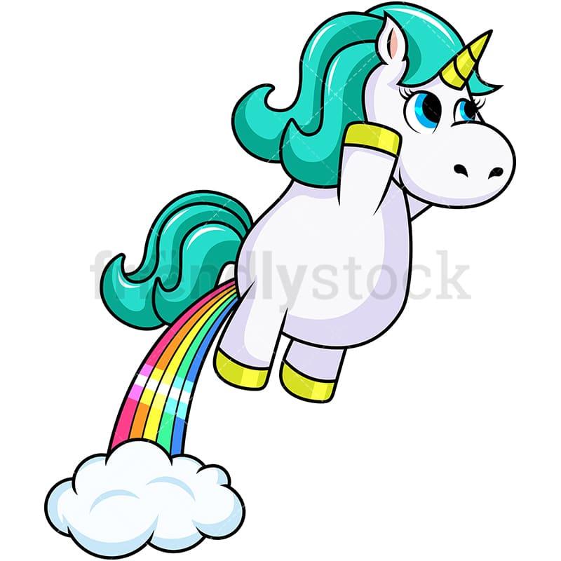 Unicorn Rainbow Fart Cartoon Vector Clipart - FriendlyStock