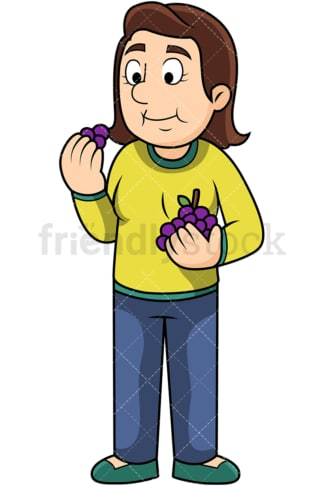 Woman enjoying grapes. PNG - JPG and vector EPS. Image isolated on transparent background.