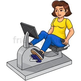 Woman on reclined exercise bike. PNG - JPG and vector EPS file formats (infinitely scalable). Image isolated on transparent background.