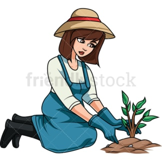 Woman planting tree. PNG - JPG and vector EPS file formats (infinitely scalable). Image isolated on transparent background.
