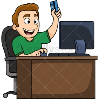 Young man happy customer. PNG - JPG and vector EPS file formats (infinitely scalable). Image isolated on transparent background.