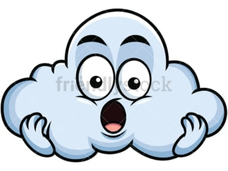 Surprised cloud emoticon. PNG - JPG and vector EPS file formats (infinitely scalable). Image isolated on transparent background.