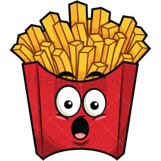 Surprised french fries emoticon. PNG - JPG and vector EPS file formats (infinitely scalable). Image isolated on transparent background.