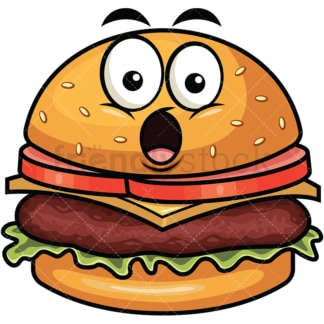Surprised hamburger emoticon. PNG - JPG and vector EPS file formats (infinitely scalable). Image isolated on transparent background.