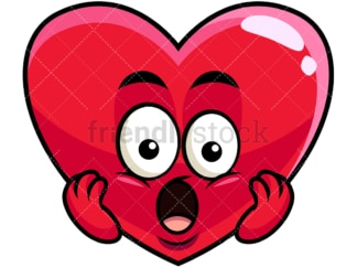 Surprised heart emoticon. PNG - JPG and vector EPS file formats (infinitely scalable). Image isolated on transparent background.