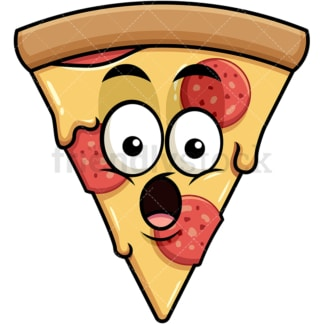 Surprised pizza emoticon. PNG - JPG and vector EPS file formats (infinitely scalable). Image isolated on transparent background.