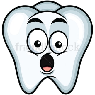 Surprised tooth emoticon. PNG - JPG and vector EPS file formats (infinitely scalable). Image isolated on transparent background.