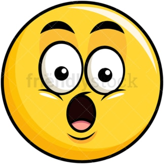 Surprised yellow smiley emoticon. PNG - JPG and vector EPS file formats (infinitely scalable). Image isolated on transparent background.