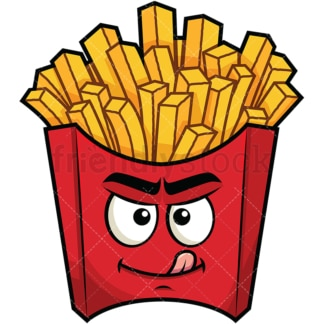 Evil look french fries emoticon. PNG - JPG and vector EPS file formats (infinitely scalable). Image isolated on transparent background.