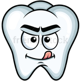 Evil look tooth emoticon. PNG - JPG and vector EPS file formats (infinitely scalable). Image isolated on transparent background.