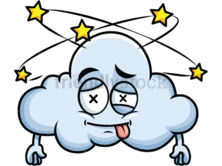 Beaten up cloud emoticon. PNG - JPG and vector EPS file formats (infinitely scalable). Image isolated on transparent background.
