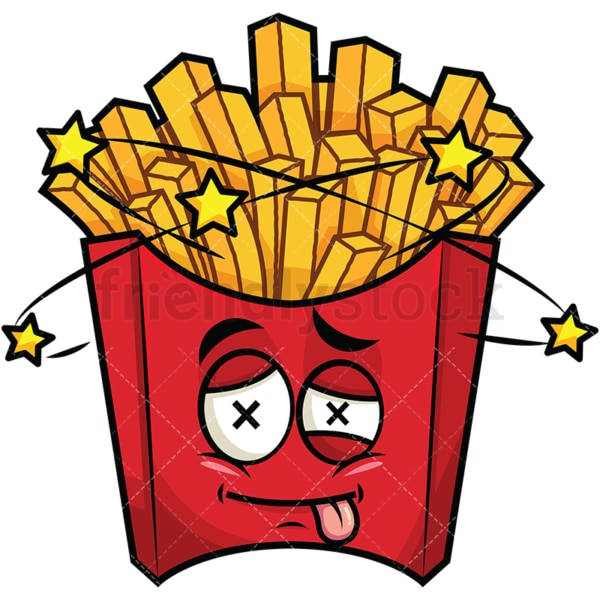 Beaten up french fries emoticon. PNG - JPG and vector EPS file formats (infinitely scalable). Image isolated on transparent background.