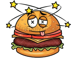 Beaten up hamburger emoticon. PNG - JPG and vector EPS file formats (infinitely scalable). Image isolated on transparent background.