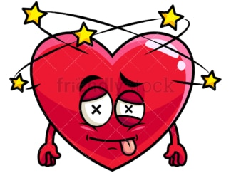 Beaten up heart emoticon. PNG - JPG and vector EPS file formats (infinitely scalable). Image isolated on transparent background.