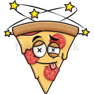 Beaten up pizza emoticon. PNG - JPG and vector EPS file formats (infinitely scalable). Image isolated on transparent background.