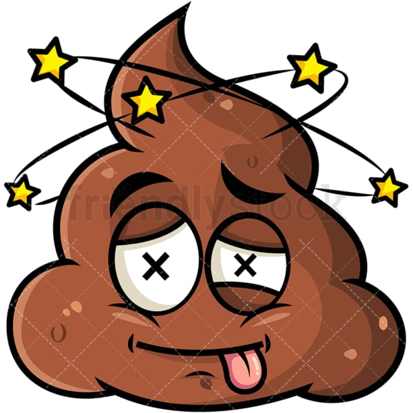 Beaten up poop emoticon. PNG - JPG and vector EPS file formats (infinitely scalable). Image isolated on transparent background.