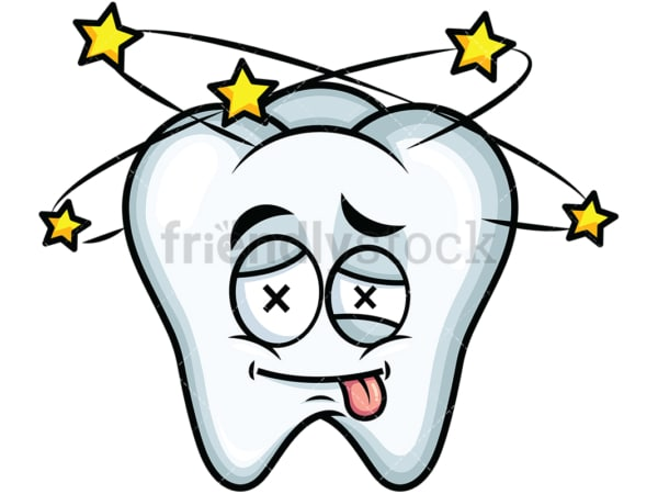Beaten up tooth emoticon. PNG - JPG and vector EPS file formats (infinitely scalable). Image isolated on transparent background.
