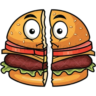 Cut in half hamburger emoticon. PNG - JPG and vector EPS file formats (infinitely scalable). Image isolated on transparent background.