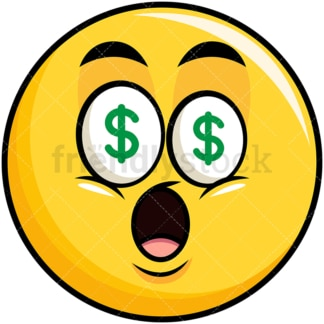 Money eyes yellow smiley emoticon. PNG - JPG and vector EPS file formats (infinitely scalable). Image isolated on transparent background.